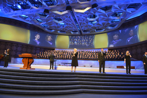 First Baptist Dallas' 230-member choir, 50-piece orchestra and worship team lead the congregation in the Grand Opening service of its new $130 million campus on Easter 2013.