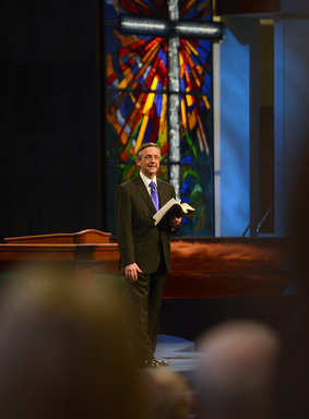 Dr. Robert Jeffress preaches on the death and resurrection of Jesus in the Worship Center of First Baptist Dallas' new $130 million campus on Easter 2013.