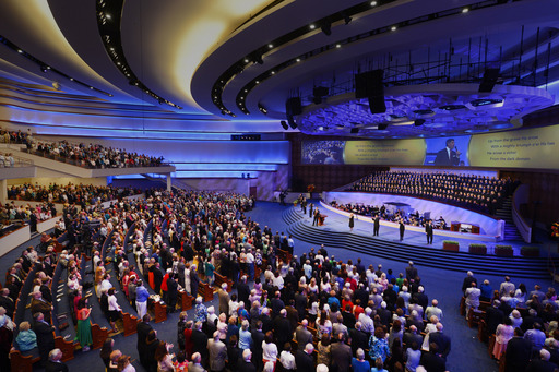 Thousands of people attend the inaugural worship services in the 3,000-seat Worship Center of the new First Baptist Dallas $130 million campus on Easter Sunday 2013.