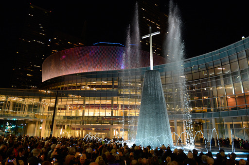 In a dramatic ceremony March 24, 2013, First Baptist Dallas lit the 68-foot cross-tower fountain at the heart of its new $130 million campus opening Easter Sunday. Photo Credit Luke Edmonson