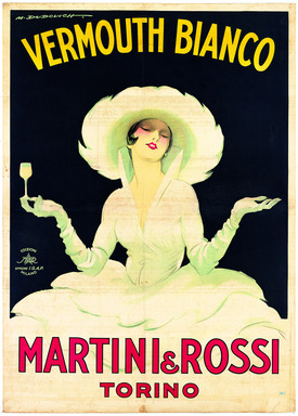 In 1918, Italian artist Marcello Dudovich composed one of his best-known works for Martini & Rossi in this world famous advertisement known as 'La Dama Bianca' (The White Lady).