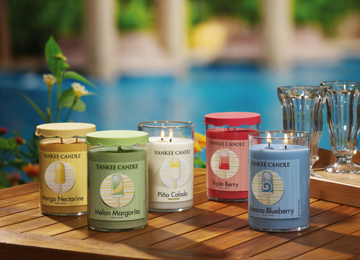 Yankee Candle's new Cool Pops limited edition collection features five new fragrances with bright colors, scalloped lids and whimsical 3-D labels.
