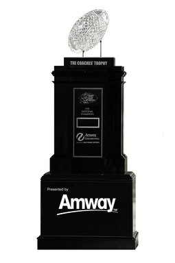 Amway is the presenting sponsor of the American Football Coaches Association Coaches' Trophy, awarded to the No. 1 ranked school following the completion of the season.
