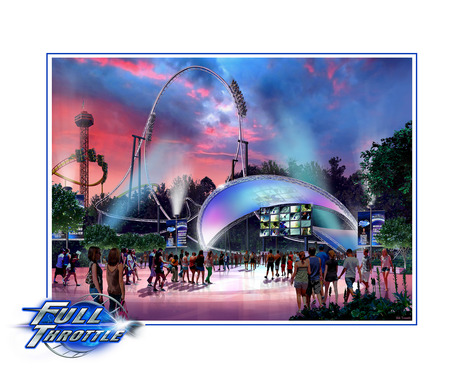 A look at the newly themed Full Throttle  plaza area, where videos, music and special lighting will extend the energy and excitement.  Full Throttle opens to the public this summer.