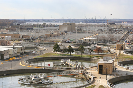 Blue Plains Advanced Wastewater Treatment Plant: primary treatment in foreground, secondary and tertiary treatment in the background