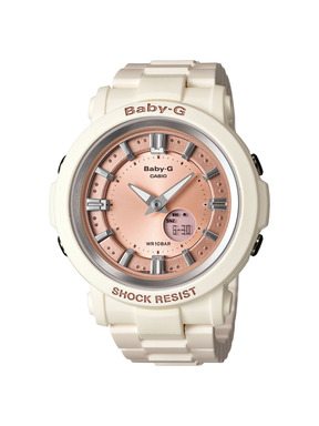 The vintage style, fashion forward Baby-G BGA300-7A2 watch in white.