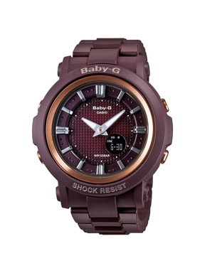 The vintage style, fashion forward Baby-G BGA301-4A watch in burgundy.