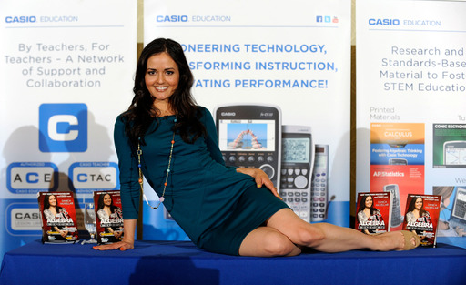 Danica McKellar, Casio advocate strikes a pose after speaking at the 2013 Annual NCSM Luncheon in Denver, Colorado on April 17, 2013. (Photo by Jack Dempsey/Invision for Casio)
