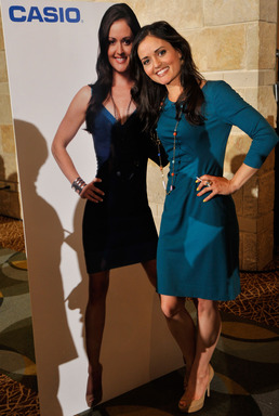 Casio advocate, Danica McKellar poses with a life-size cutout of herself at the National Council of Supervisors of Mathematics luncheon in Denver, Colorado on April 17, 2013. (Photo by Jack Dempsey/Invision for Casio)
