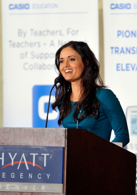 Casio advocate, Danica McKellar addresses more than 1,000 Mathematics Supervisors at the 2013 Annual NCSM Luncheon in Denver, Colorado on April 17, 2013. (Photo by Jack Dempsey/Invision for Casio)