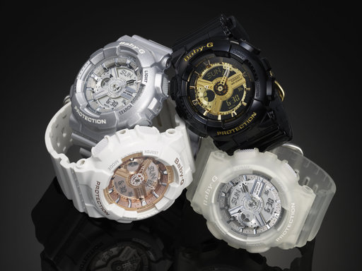 The Baby-G BA110 watch series in black/gold, white/rose gold, platinum and translucent/silver.