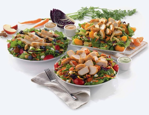 Chick-fil-A® Grilled Market Salad (left), Chick-fil-A® Asian Salad (right), Chick-fil-A® Cobb Salad (center)