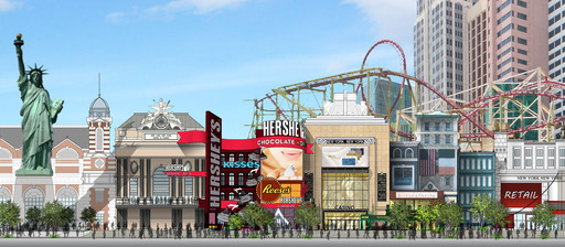 A rendering of the planned redevelopment of the Las Vegas Stripfront façade of New York-New York Hotel & Casino. Expected completion in early 2014.
