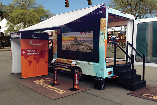 The Vayama Go Somewhere Tour Truck. This 18-foot custom-designed truck serves as a hub for global discovery and travel inspiration at each event.