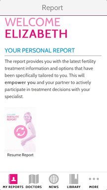 "OMD Fertility app ""Personal Report"" page"