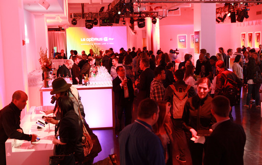 "Winners of the ""Share the Genius Sweepstakes"" social media contest, notable media influencers and smartphone enthusiasts packed the Metropolitan Pavilion to celebrate the U.S. launch of LG Optimus G Pro"