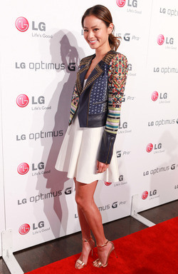 Actress, Jamie Chung, walks the red carpet at the Share The Genius U.S. launch event for LG Optimus G Pro