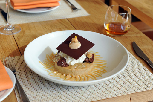 Chocolate, Coffee and Hazelnut Tart with Dalmore Gelée will now be a fixture on the menu at Bar Boulud