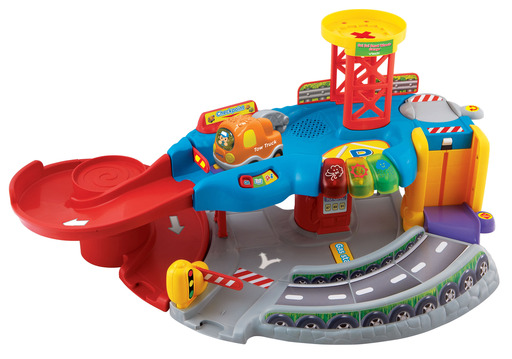 Each Go! Go! Smart Wheels playset by VTech features various SmartPoint locations that Go! Go! Smart Wheels vehicles recognize by playing greetings, fun sounds, short tunes and sing-along songs.