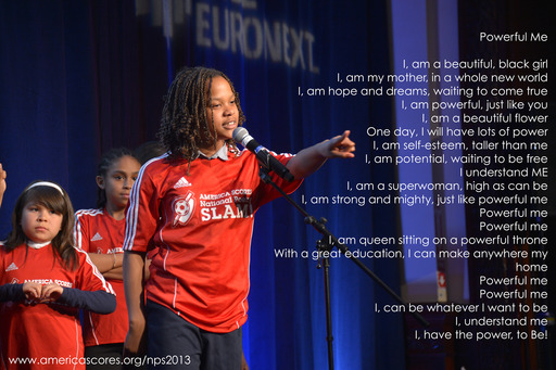 10 year old Anya Sampson from St Louis moves the audience with her inspirational poem, Powerful Me