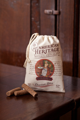 American Heritage Chocolate Bites are individually-wrapped, bite-size chocolates that come in a keepsake muslin bag and are ideal for sharing
