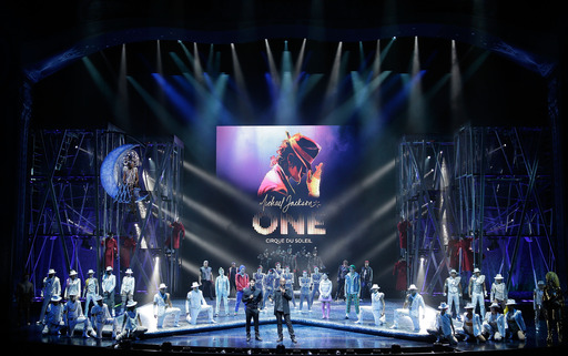 Director of Creation Welby Altidor (CL) and Writer/Director Jamie King (CR) introduce a sneak peek of Michael Jackson ONE by Cirque du Soleil at Mandalay Bay on May 7, 2013.