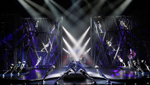 Artists perform during a sneak peek of Michael Jackson ONE by Cirque du Soleil at Mandalay Bay.  Performances begin May 23, 2013, with world premiere slated for June 29, 2013.