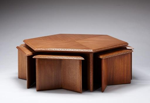 "The Frank Lloyd Wright designed Hexagonal Coffee/Cocktail Table with Six Stools, Heritage-Henredon, 1955, is featured in a new, free exhibit at ""The SC Johnson Gallery: At Home with Frank Lloyd Wright."""