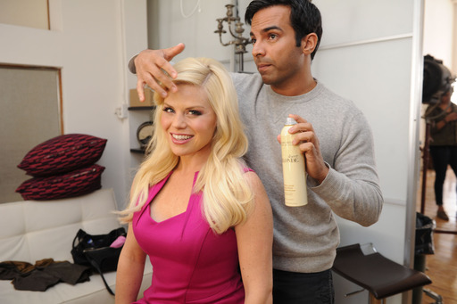 John Frieda International Creative Consultant Harry Josh styles Megan Hilty's golden locks with John Frieda styling products