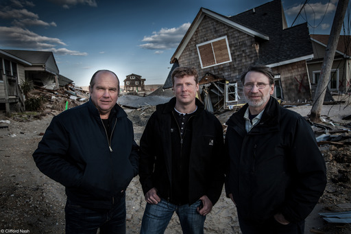THIS OLD HOUSE expert Richard Trethewey, host Kevin O'Connor, and Norm Abram in Brick, NJ following Superstorm Sandy. THIS OLD HOUSE: JERSEY SHORE REBUILDS will feature the comeback of three Jersey Shore homes–and homeowners–left devastated by the storm.