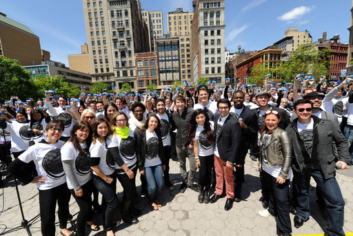 Singer-songwriter Owl City (A.K.A. Adam Young) joins 500 a cappella singers, including famed vocal quintet  Pentatonix, in New York City's Union Square for a group sing-a-long of the OREO Wonderfilled anthem to kick off the brand's new campaign.