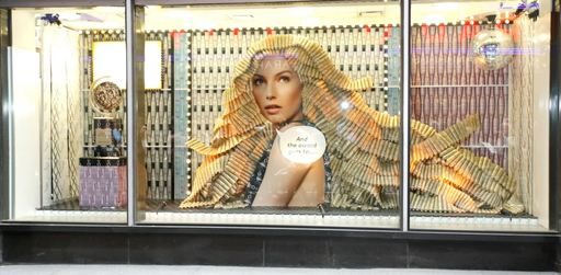 Nexxus Salon Hair Care Window Installation at Duane Reade. Photo by Jemal Countess/Getty Images