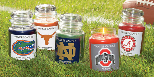 Yankee Candle offers a unique way to show school spirit with its new Fan Candles line, featuring 27 collegiate-themed candles
