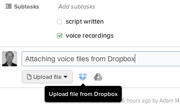 With Producteev by Jive, people can integrate documents from file attachments solutions like Dropbox