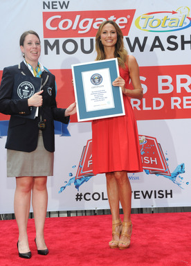 "Actress and TV host, Stacy Keibler, helped Colgate®  break a GUINNESS WORLD RECORDS® and raise money for Make-A-Wish® at the ""A Wish For A Swish"" event in New York, NY on June 25, 2013."