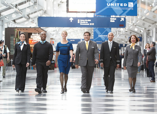 United Airlines employees sport new uniforms