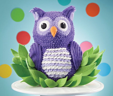 Have a hoot and transform the Wilton 3D Bear Cake into an Owl's Nest Fun Fest Cake.