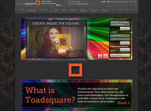 The Toadsquare homepage, where you can sign up for free