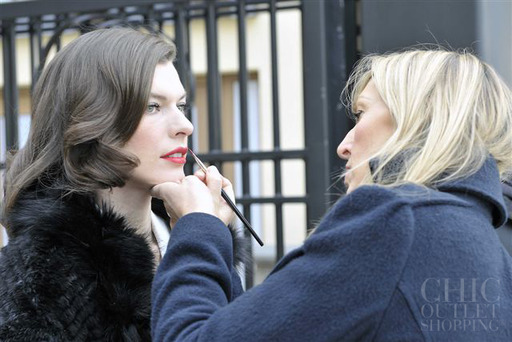 US Model & Actress, Milla Jovovich on set shooting the Chic Outlet Shopping® 'Globalista' campaign film'