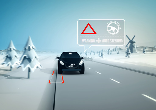 This technology helps avoid road departures. If the car is about to drive off the road the car steers back on track.