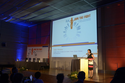 Claire Kinneavy, who has experienced RA for more than 30 years, told her personal journey with RA to attendees of the RA: Join the Fight launch event on June 11 in Madrid