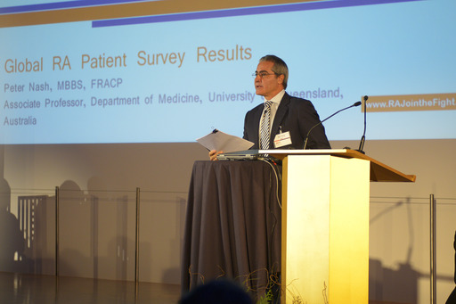 Dr. Peter Nash walked attendees through the results of the largest global patient survey of rheumatoid arthritis patients on June 11 in Madrid, Spain
