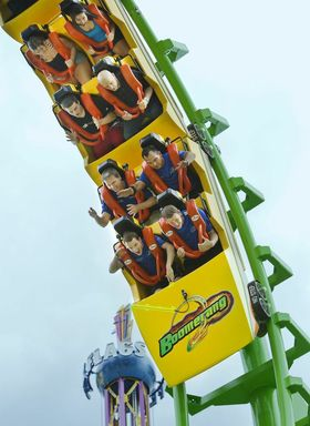 The United States Boomerang Team rides the new Boomerang roller coaster at Six Flags St. Louis.