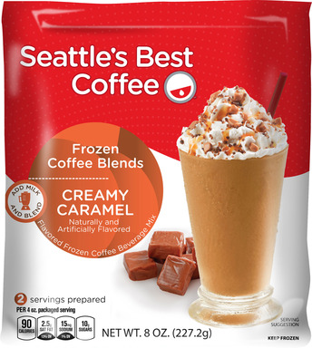 Seattle's Best Coffee Frozen Coffee Blends arrive in stores summer of 2013 with a suggested retail price of $2.99 - $3.49 per bag. Each packages makes two, 8-ounce blended coffee drinks.