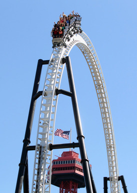 "Full Throttle, a triple lauch coaster featuring a world-record 160-foot tall loop and first-ever ""Top Hat,"" debuts at Six Flags Magic Mountain in Valencia, CA."
