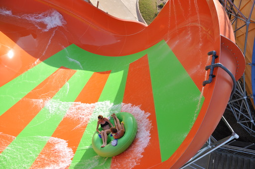 Speed up to 40 mph and experience zero gravity as you glide toward the top of the slide on Tsunami Surge!
