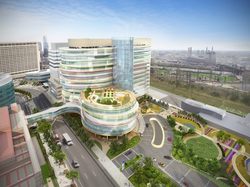 Projected to open in 2015, the 12-story Buerger Center for Advanced Pediatric Care will feature a roof top garden and a 2.6-acre outdoor plaza for play, entertainment and emotional recharging.