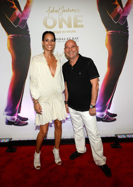 "Model Claudia Barila and Cirque du Soleil founder and CEO Guy Laliberte arrive at the world premiere of ""Michael Jackson ONE by Cirque du Soleil"" at THEhotel at Mandalay Bay on June 29, 2013 in Las Vegas, Nevada. (Photo by Ethan Miller/Getty Images for Ci"