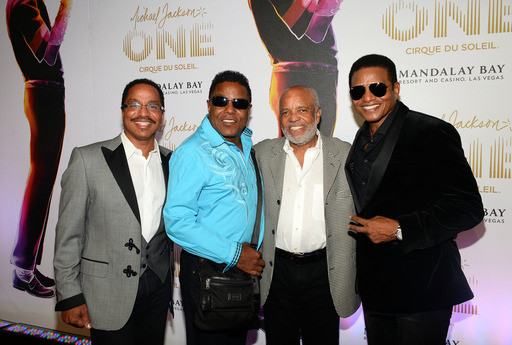 "Marlon Jackson, Jackie Jackson, Berry Gordy and Tito Jackson at the world premiere of ""Michael Jackson ONE by Cirque du Soleil"" at THEhotel at Mandalay Bay on June 29, 2013 in Las Vegas, Nevada. (Photo by Ethan Miller/Getty Images for Cirque du Soleil)"