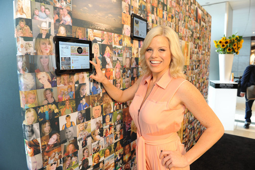 Megan Hilty caught on blondemonth.com after eyeing the wall of blonde photos